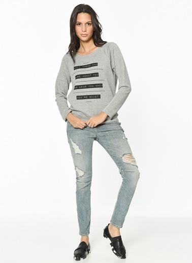 Yazı Detaylı Çizgili Sweatshirt-Only